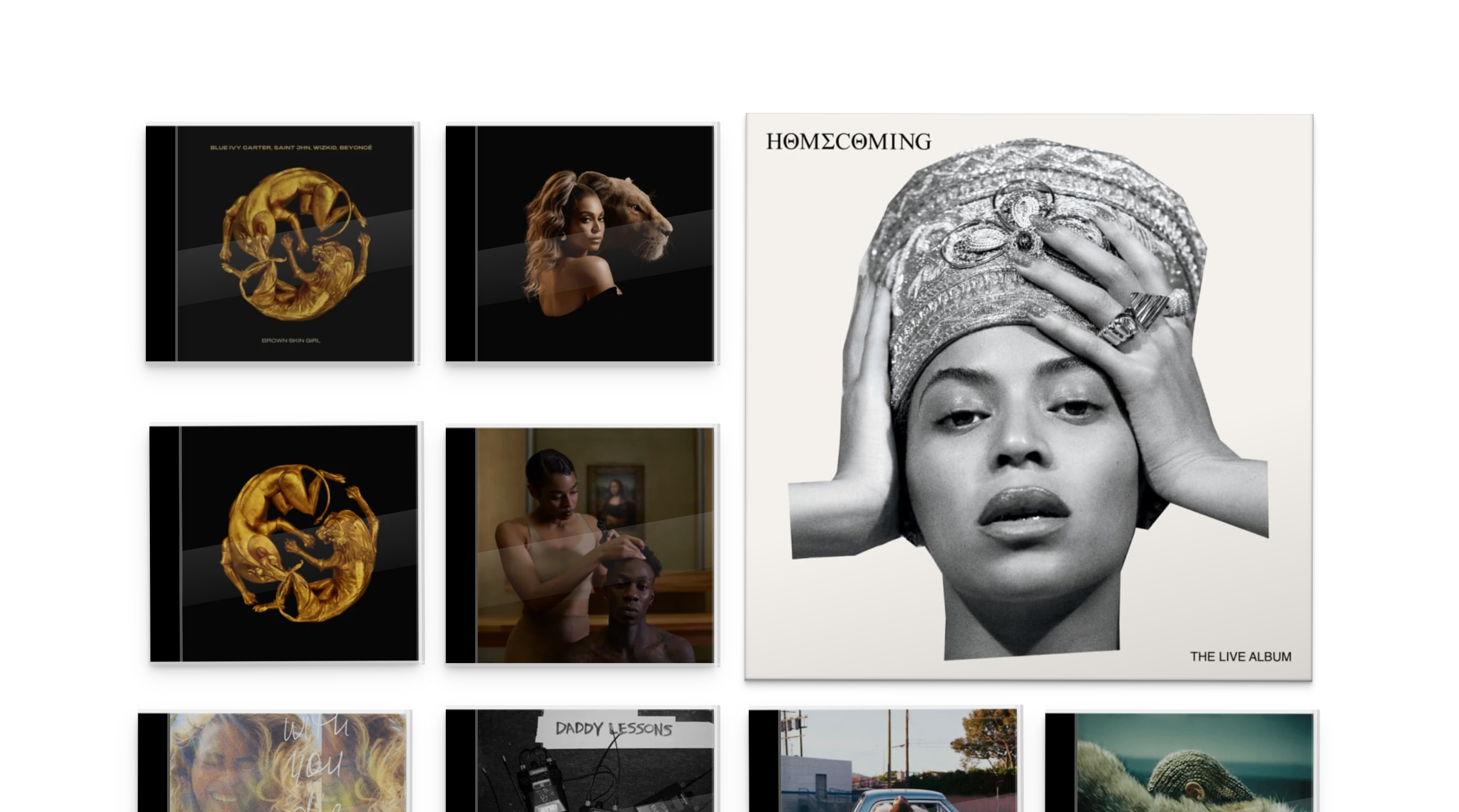 Grid of Beyoncé album covers arranged differently to accommodate a smaller browser